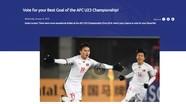 Nguyễn Quang Hải dẫn đầu cuộc đua bàn thắng đẹp nhất VCK U23 châu Á