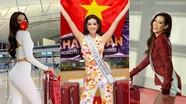 Lên đường sang Mỹ thi Miss Universe, Khánh Vân liên tục thay đồ như 'tắc kè hoa' ở sân bay