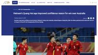 """""""Thần tài"""" U23 Việt Nam trả lời phỏng vấn AFC sau trận thắng Australia"""