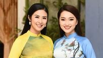 Ngọc Nữ trình diễn áo dài trong show thời trang của Hoa hậu Ngọc Hân