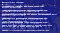 Thái Lan triệu tập 33 cầu thủ chuẩn bị đại chiến với đội tuyển Việt Nam