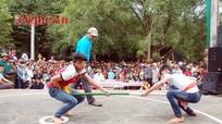 Xem đấu vật, đẩy gậy, vượt cầu ao ở lễ hội đền Đức Hoàng