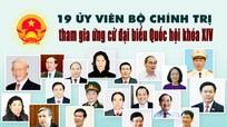 [Infographics] Danh sách 19 Ủy viên Bộ Chính trị tham gia ứng cử đại biểu Quốc hội khóa XIV