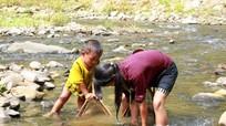Trẻ em vùng cao bắt cá suối trong ngày lạnh giá