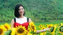 Đào Thị Hà khoe sắc trên cánh đồng hoa hướng dương