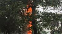 Cột điện trên đường Nguyễn Văn Cừ bốc cháy dữ dội giữa ban ngày