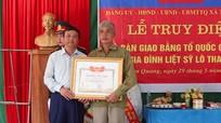 Lễ truy điệu, trao bằng Tổ quốc ghi công cho liệt sỹ sau 49 năm hy sinh