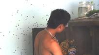 Thanh niên cởi trần lấy mật ong rừng đóng trong tủ quần áo