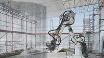 Robot thoăn thoắt đan lưới thép xây nhà