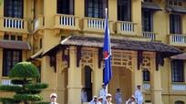 Thượng cờ tại Hà Nội kỷ niệm 50 năm thành lập ASEAN