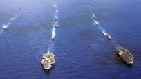 Ba tàu sân bay Mỹ tập trận chung khi Tổng thống Trump thăm châu Á