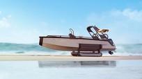 Du thuyền gắn bánh xích giống xe tăng để chạy trên cạn