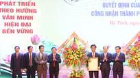Phó Thủ tướng Vương Đình Huệ trao quyết định công nhận TP Hà Tĩnh là đô thị loại II