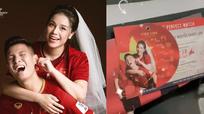 Trung vệ Bùi Tiến Dũng và 'hot gril' Khánh Linh tiết lộ thiệp cưới như...vé xem bóng đá!