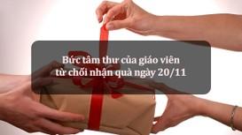 Bức tâm thư của giáo viên từ chối nhận quà ngày 20/11