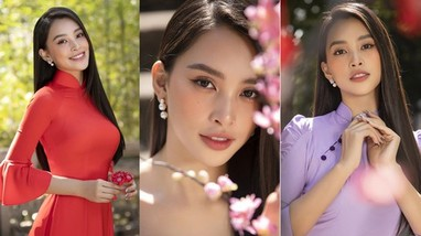 Hoa hậu Tiểu Vy khoe nhan sắc 'cực phẩm', đẹp tựa nàng thơ với bộ sưu tập áo dài Tết