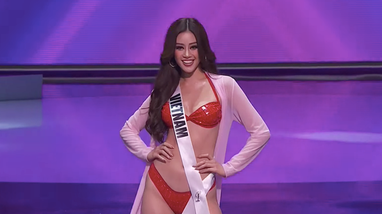 Màn trình diễn bikini tỏa sáng của Khánh Vân ở bán kết Miss Universe