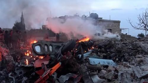 Hiện trường máy bay Su-25 bị bắn ở Idlib