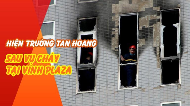 Hiện trường tan hoang sau vụ cháy tại Vinh Plaza (Nghệ An)