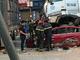 Dừng đèn đỏ, ô tô con bị xe container đè nát khiến 4 người thương vong