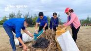 Rác trên bãi biển Diễn Thành (Nghệ An) được thu gom