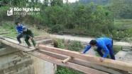 Thanh niên vùng cao làm cầu gỗ giúp dân bản qua khe