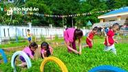 Giáo viên, phụ huynh ở trường vùng biên trồng rau phục vụ bữa ăn cho trẻ