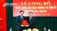 Trao Quyết định phân công đồng chí Hồ Lê Ngọc giữ chức Trưởng ban Nội chính Tỉnh ủy Nghệ An