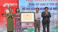 Phó Bí thư Thường trực Tỉnh ủy dự lễ đón nhận bằng di tích lịch sử tại Đô Lương