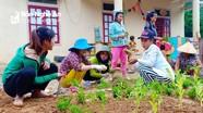 Phụ huynh vùng cao giúp nhà trường trồng hoa, trồng rau đón năm học mới