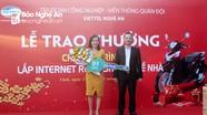 Viettel Nghệ An trao thưởng xe máy, ti vi cho 6 khách hàng lắp đặt dịch vụ Internet, truyền hình