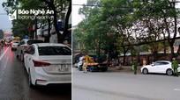 Công an xử phạt hàng loạt ô tô dừng đỗ sai quy định tại thành phố Vinh
