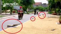 Nghệ An: Nhiều tuyến đường bị lấn chiếm làm nơi phơi lúa