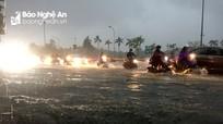 Nhiều tuyến phố ở thành Vinh chìm trong biển nước