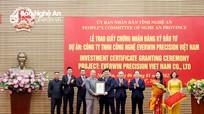 Nghệ An trao Giấy chứng nhận đăng ký đầu tư cho dự án 200 triệu USD