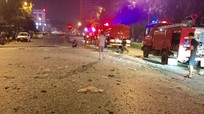 Quốc lộ 1A đầy mảnh vỡ sau vụ nổ nhà hàng nướng không khói BBQ tại Nghệ An