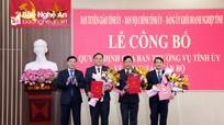 Nghệ An: Công bố các quyết định của Ban Thường vụ Tỉnh ủy về công tác cán bộ