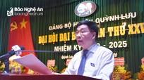 Đồng chí Nguyễn Văn Thông lưu ý 8 nhiệm vụ trọng tâm phát triển huyện Quỳnh Lưu giai đoạn mới