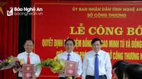 Trao quyết định bổ nhiệm 2 Phó giám đốc Sở Công Thương Nghệ An