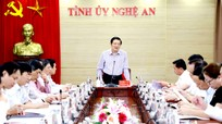 Đoàn công tác Trung ương làm việc với Thường trực Tỉnh ủy Nghệ An về tổ chức đại hội Đảng các cấp