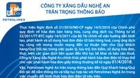 Công ty Xăng dầu Nghệ An thông báo thay đổi hóa đơn điện tử
