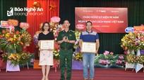 Bộ đội Biên phòng tỉnh tặng giấy khen cho 1 tập thể và 2 cá nhân Báo Nghệ An