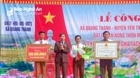 Xã Quang Thành (Yên Thành) đón Bằng công nhận xã đạt chuẩn nông thôn mới