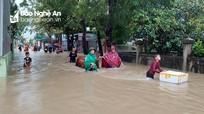 Nước ngập sâu, người dân Quỳnh Lưu sơ tán tránh lũ
