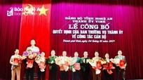 Thành ủy Vinh công bố quyết định điều động, luân chuyển 8 Phó Chủ tịch UBND phường, xã