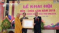 Khai hội Đền - chùa Gám, đón nhận Bằng Bảo trợ UNESCO