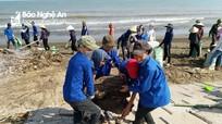 """Hàng nghìn người dân """"giải cứu"""" bãi biển Quỳnh Lưu ngập rác"""