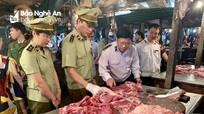 Nghệ An kiểm tra nguồn gốc và chất lượng thịt lợn bán ở các chợ