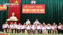 Trao Huy hiệu Đảng tại thành phố Vinh, huyện Nam Đàn