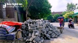 Vật liệu xây dựng ngổn ngang vỉa hè, lòng đường phố Vinh